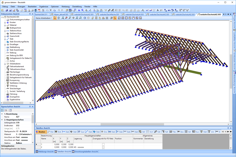 Dachstuhl in der Baustatik